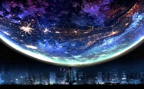 Обои арт, город, планета, фантастика, огни