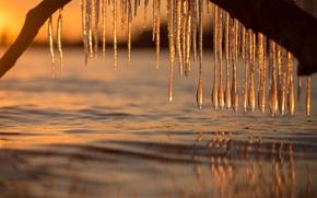 Обои вода, лёд, сосульки