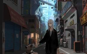 Картинка девушка, город, собака, аниме, арт, jittsu