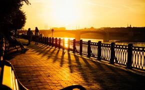 Картинка city, light, river, bridge, sunset, young, evening, sun, street, mood, spring, horizon, wind, town, urban, ...