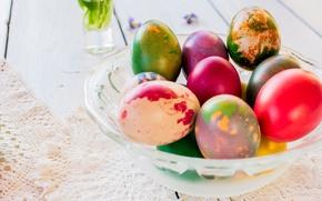 Картинка праздник, яйца, Пасха, кружево, салфетка, Easter, крашенки, вазочка