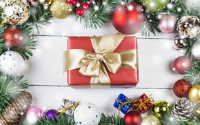 Картинка украшения, праздник, подарок, игрушки, новый год, бант, декор