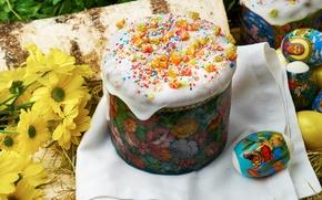 Картинка цветы, яйца, Пасха, кулич, глазурь