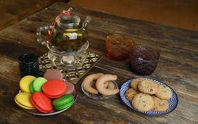 Картинка чай, печенье, выпечка, макаруны