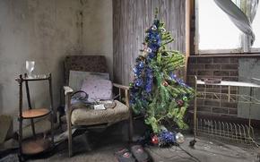 Обои дом, бардак, праздник, ёлка