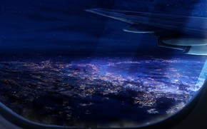 Картинка ночь, самолет, Y_Y