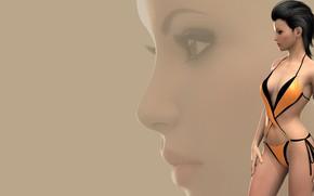 Картинка девушка, лицо, фон