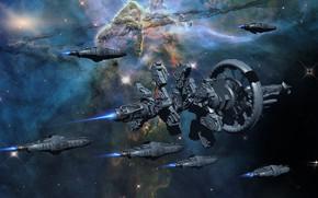 Картинка космос, корабли, звёзды, армада, Space Travel