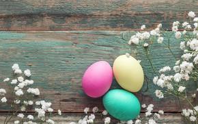 Картинка цветы, eggs, spring, Happy, flowers, яйца крашеные, Пасха, Easter, wood, decoration, весна