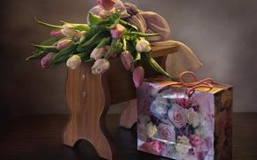 Картинка букет, пакет, тюльпаны
