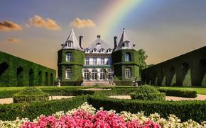 Картинка цветы, замок, радуга, башни