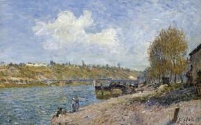 Картинка мост, река, картина, Alfred Sisley, Альфред Сислей, Пейзаж на Речном Берегу