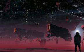 Картинка фантастика, человек, корабль, скафандр, арт, шлем