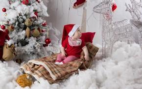Картинка праздник, новый год, малыш, дед мороз, гном