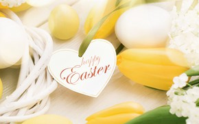 Картинка цветы, весна, Пасха, сердечки, тюльпаны, wood, flowers, hearts, tulips, spring, Easter, eggs, decoration, Happy, яйца …