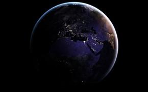 Обои огни, планета, Земля, Африка, Средиземное море