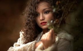 Картинка девушка, лицо, ветка, макияж, кудри
