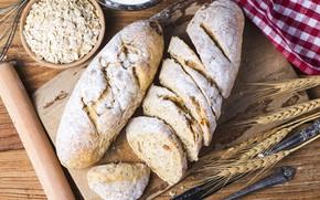Картинка пшеница, хлеб, ткань, доска, bread, wheat, овсянка