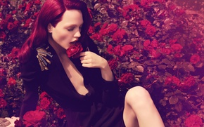 Картинка розы, красные волосы, Саша Пивоварова, российская супермодель