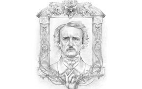 Картинка skull, white, black, look, writer, frame, Edgar Allan Poe