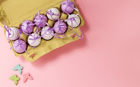 Картинка бабочки, фон, розовый, яйца, весна, Пасха, pink, spring, Easter, eggs, decoration, Happy