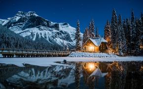 Обои Канада, зима, горы, ночь, дом, огни