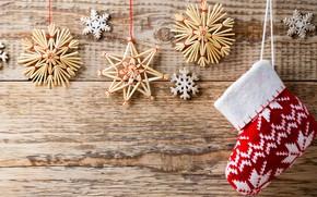 Картинка украшения, снежинки, фон, праздник, носок, Рождество, Новый год