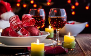 Картинка вино, свечи, бокалы, день валентина, hearts, Valentines day