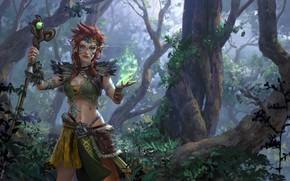Картинка лес, девушка, растительность, посох, guardian