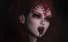 Картинка девушка, лицо, кровь, вампир