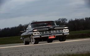 Картинка Black, 1959, Chevrolet Impala, Classic rod