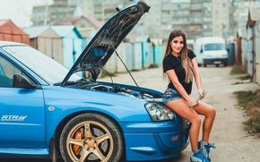 Картинка авто, взгляд, Девушки, Subaru, ключ, красивая девушка