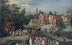 Картинка пейзаж, масло, картина, Фламандская Деревня, Питер Гайселс