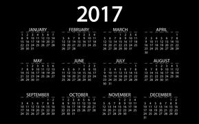 Обои черный, черный фон, 2017, календарь, новый год, месяца, календарь на 2017 год, год, новый 2017 ...