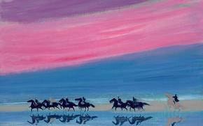 Картинка облака, пейзаж, берег, картина, лошади, Andre Brasilier, Отражения Всадников