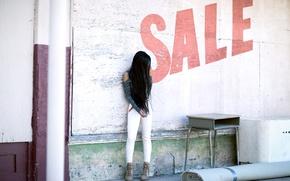 Обои девушка, улица, продажа