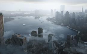 Картинка город, здания, лодки, залив, landscapes