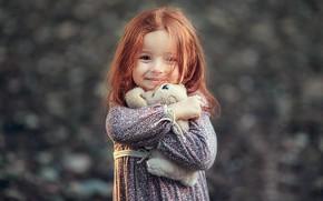 Обои улыбка, игрушка, девочка, рыжая, малышка, ребёнок, Darya Stepanova