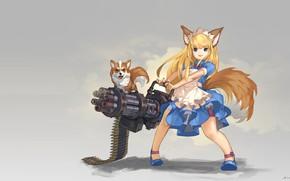 Обои Gatling Dog!, hinew KIM, ушки, аниме, арт, собака, девочка, оружие