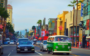 Картинка люди, улица, здания, автомобили, Hollywood Boulevard