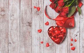 Картинка шоколад, конфеты, сердечки, red, love, heart, romantic, gift, roses, красные розы, valentine`s day