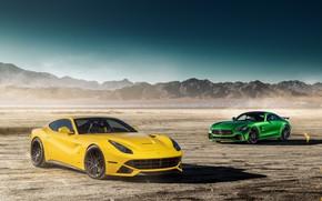 Обои Ferrari F12 1, GTR 1, Mercedes-Benz, пейзаж