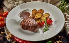 Картинка мясо, овощи, помидор, соус, стейк