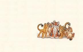 Картинка кошки, звери, минимализм, арт, котята, пятнышки