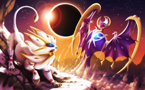 Картинка moon, game, wings, lion, dust, fight, Pokemon, Pokémon Sun & Moon, Pokémon, Pokémon Sun and …