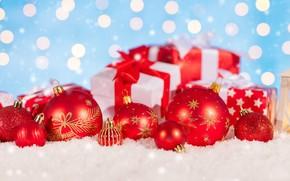 Картинка зима, снег, украшения, снежинки, Новый Год, Рождество, подарки, Christmas, balls, winter, snow, bokeh, Merry Christmas, …