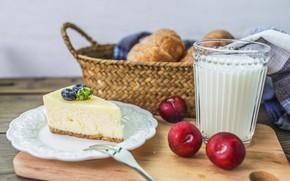 Картинка стакан, молоко, черника, пирог, сливы, выпечка, творог, запеканка
