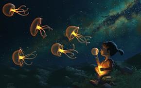 Обои звёзды, ночь, ребёнок, Jellies, медузы