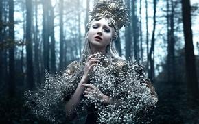Картинка лес, девушка, арт, цветочки, Bella Kotak, The strength within