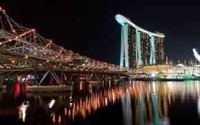 Обои Ночь, Пейзаж, Небоскреб, Сингапур, Город, Корабль